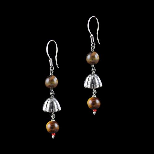 OXIDIZED SILVER HANGING EARRINGS WITH TIGER EYE BEADS