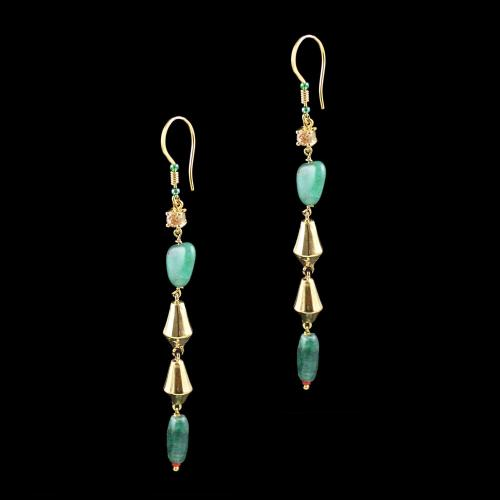 GOLD PLATED HANGING EARRINGS WITH CZ AND MALACHITE BEADS