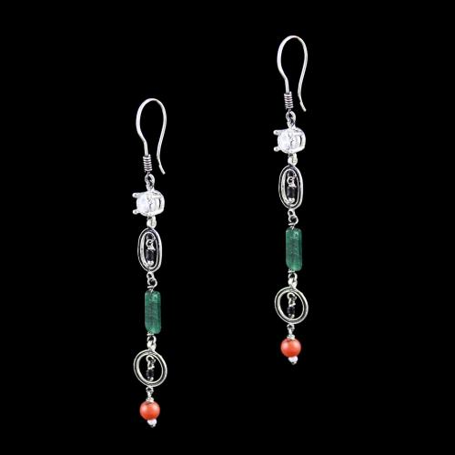OXIDIZED SILVER HANGING EARRINGS WITH CZ MALACHITE AND CORAL BEADS