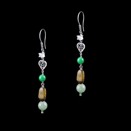 OXIDIZED SILVER HANGING EARRINGS WITH CZ AND TIGER EYE BEADS