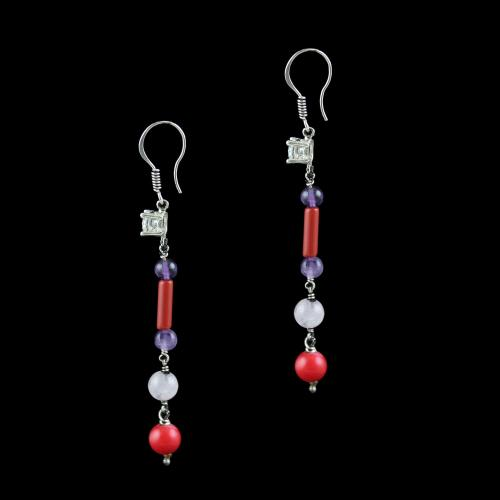 OXIDIZED SILVER HANGING EARRINGS WITH CZ AND CORAL BEADS