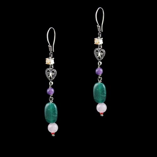 OXIDIZED SILVER HANGING EARRINGS WITH CZ AND ONYX BEADS