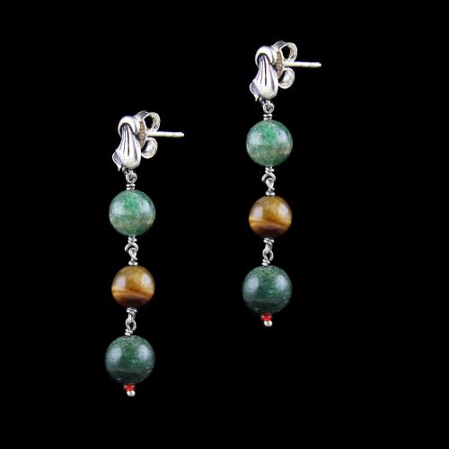 OXIDIZED SILVER FLORAL EARRINGS WITH TIGER EYE AND MALACHITE BEADS