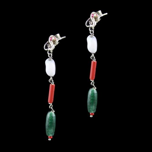 OXIDIZED SILVER FLORAL EARRINGS WITH MALACHITE BEADS
