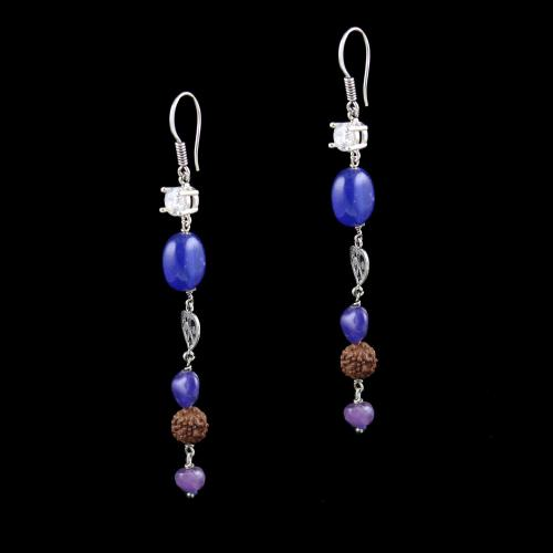 OXIDIZED SILVER HANGING EARRINGS WITH CZ RUDRAKSHA AND QUARTZ BEADS