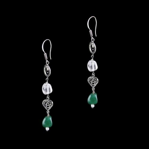 OXIDIZED SILVER HANGING EARRINGS WITH QUARTZ BEADS