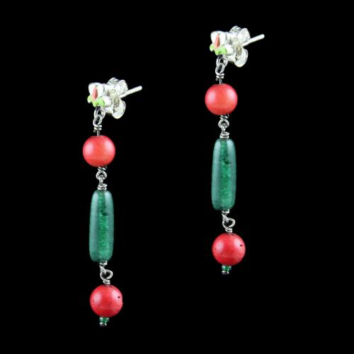 OXIDIZED SILVER EARRINGS WITH ENAMEL CORAL AND MALACHITE BEADS