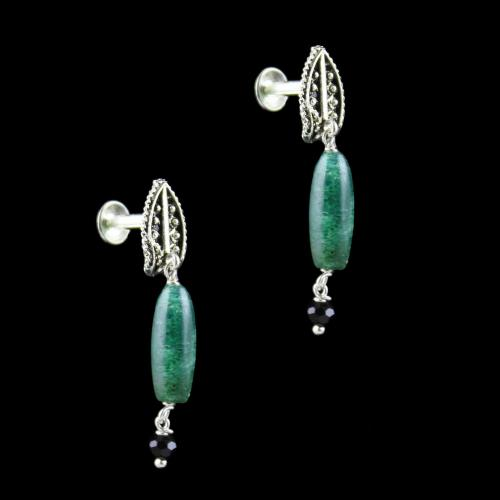 OXIDIZED SILVER EARRINGS WITH MALACHITE BEADS
