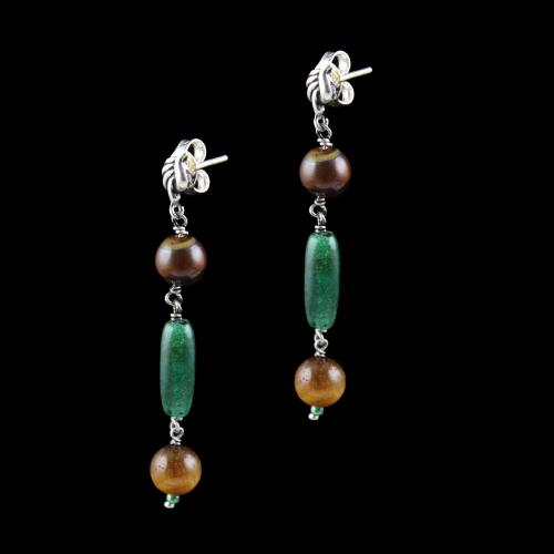 OXIDIZED SILVER EARRINGS WITH TIGER EYE AND MALACHITE BEADS