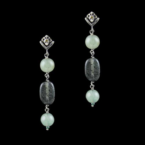 OXIDIZED SILVER FLORAL EARRINGS WITH QUARTZ BEADS