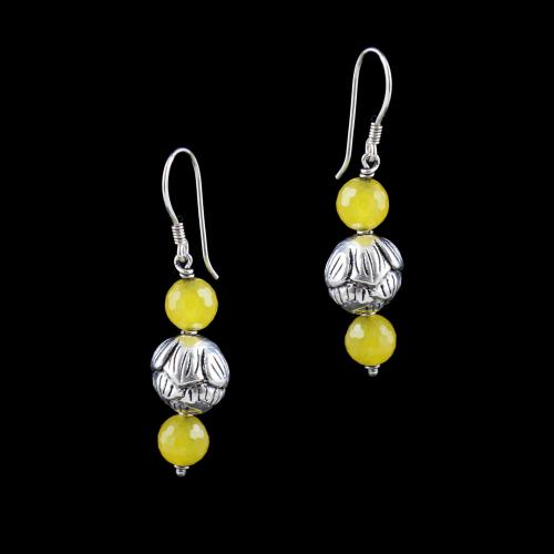 OXIDIZED SILVER HANGING EARRINGS WITH YELLOW QUARTZ BEADS