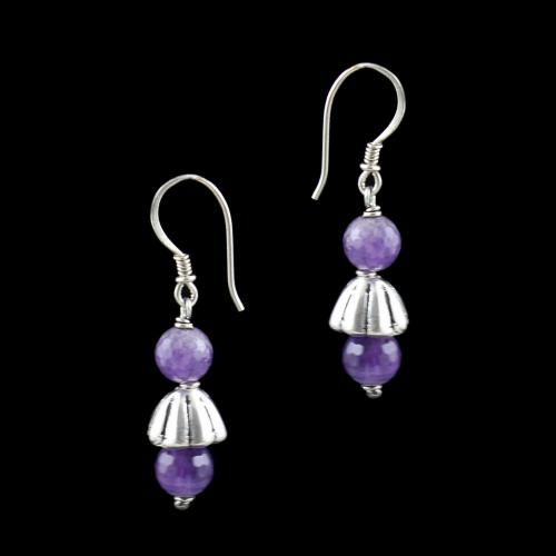 OXIDIZED SILVER HANGING EARRINGS WITH PURPLE QUARTZ BEADS