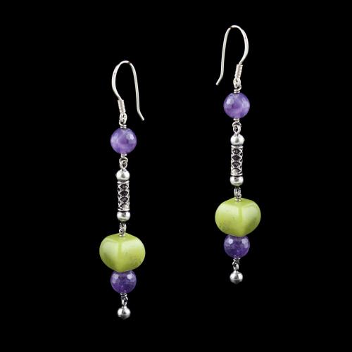 OXIDIZED SILVER HANGING EARRINGS WITH AGATE AND PURPLE QUARTZ BEADS