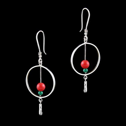 OXIDIZED SILVER HANGING EARRINGS WITH JADE AND CORAL BEADS
