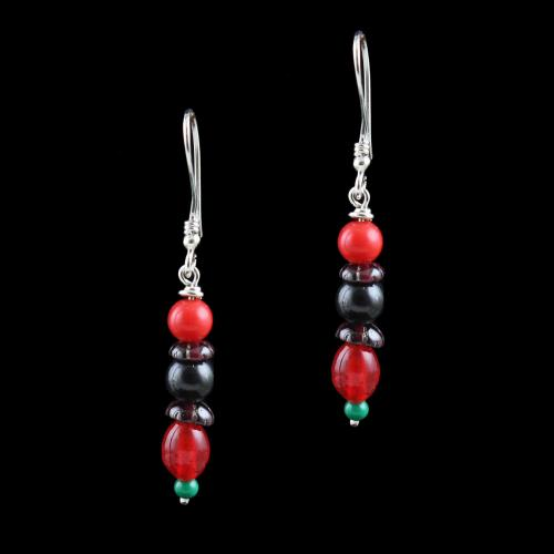 OXIDIZED SILVER HANGING EARRINGS WITH MULTI COLOR BEADS