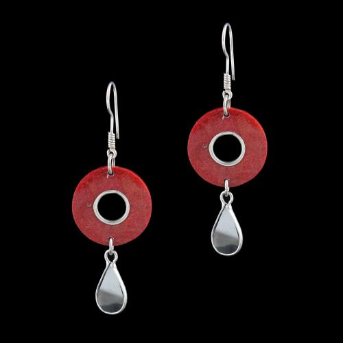 OXIDIZED SILVER HANGING EARRINGS WITH CORAL BEADS