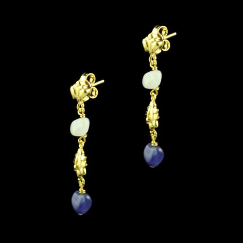 GOLD PLATED FLORAL EARRINGS WITH QUARTZ BEADS