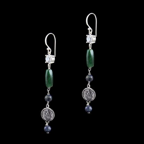 OXIDIZED SILVER LAKSHMI EARRINGS WITH CZ AND JADE BEADS