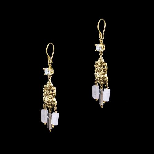 GOLD PLATED LAKSHMI EARRINGS WITH CZ AND QUARTZ BEADS