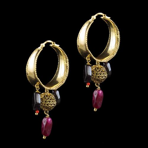 GOLD PLATED BALI EARRINGS WITH RED ONYX AND GARNET BEADS