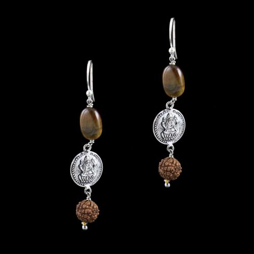 OXIDIZED SILVER LAKSHMI EARRINGS WITH RUDRAKSHA AND TIGER EYE BEADS