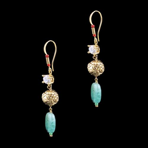 GOLD PLATED HANGING EARRINGS WITH CZ AND JADE BEADS