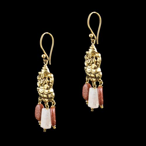 GOLD PLATED LAKSHMI EARRINGS WITH SUN STONES AND QUARTZ BEADS