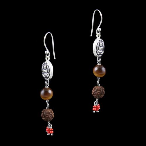 OXIDIZED SILVER HANGING EARRINGS WITH TIGER EYE AND RUDRAKSHA BEADS