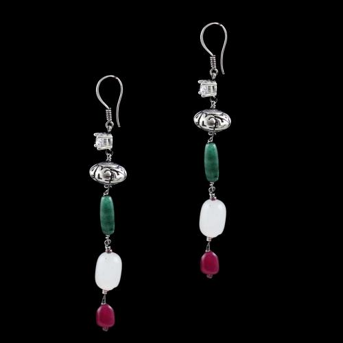 OXIDIZED SILVER HANGING EARRINGS WITH CZ AND JADE QUARTZ BEADS