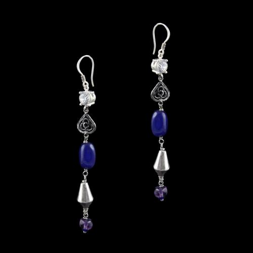 OXIDIZED SILVER HANGING EARRINGS WITH CZ AND PURPLE QUARTZ BEADS
