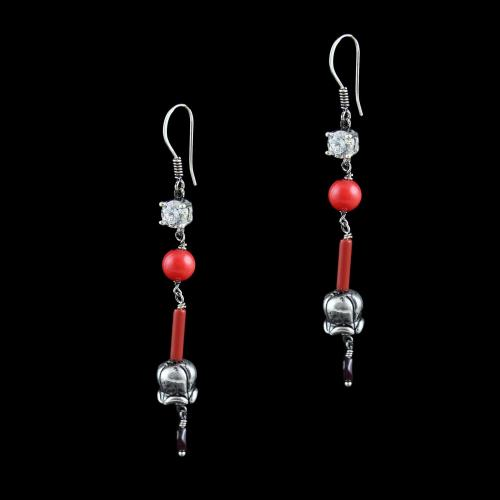 OXIDIZED SILVER HANGING EARRINGS WITH CZ CORAL AND GARNET BEADS
