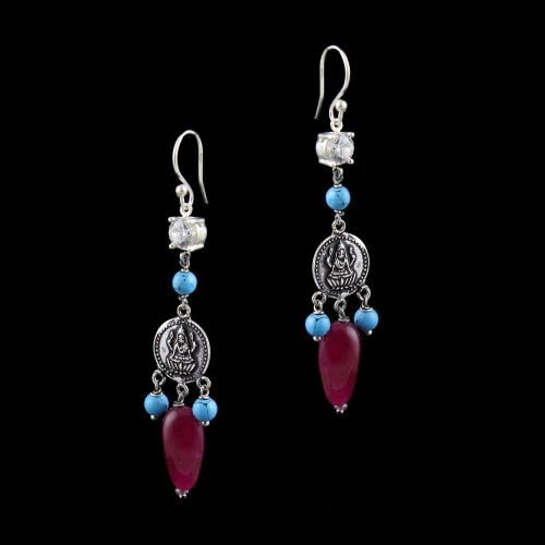 OXIDIZED SILVER LAKSHMI EARRINGS WITH CZ AND TURQUOISE BEADS