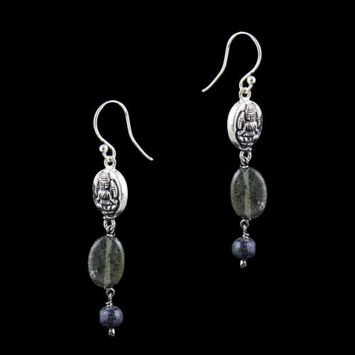 OXIDIZED SILVER HANGING EARRINGS WITH SMOKY QUARTZ BEADS