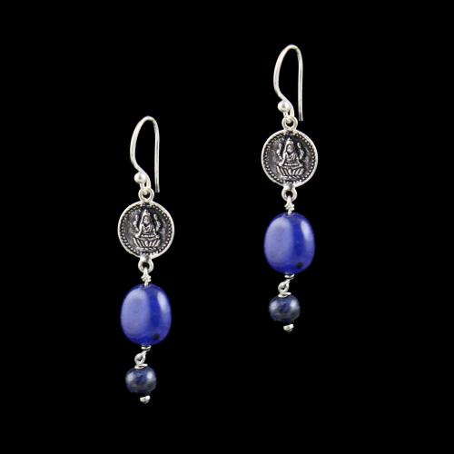 OXIDIZED SILVER LAKSHMI EARRINGS WITH QUARTZ BEADS