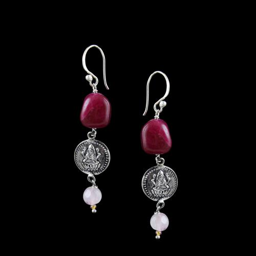 OXIDIZED SILVER LAKSHMI EARRINGS WITH RED ONYX AND QUARTZ BEADS
