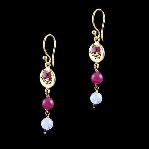 GOLD PLATED HANGING EARRINGS WITH RED CZ AND ONYX QUARTZ BEADS