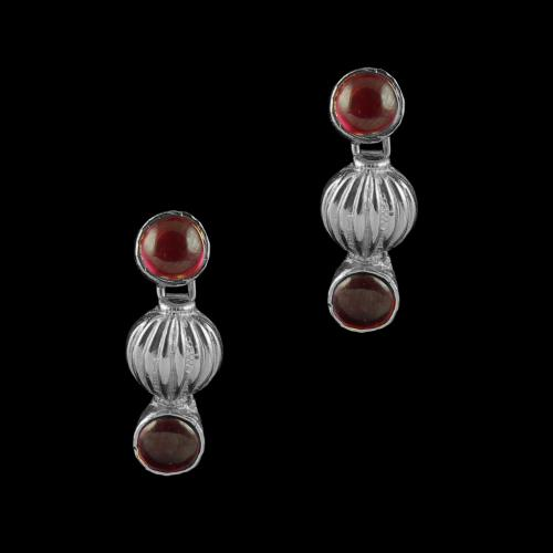OXIDIZED SILVER RED ONYX EARRINGS