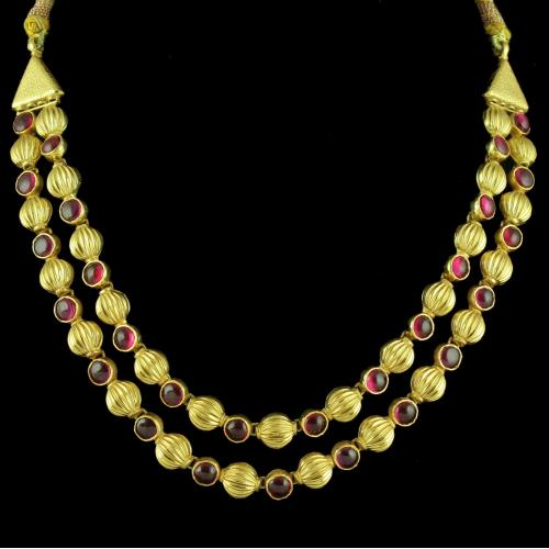 GOLD PLATED RED ONYX THREAD NECKLACE