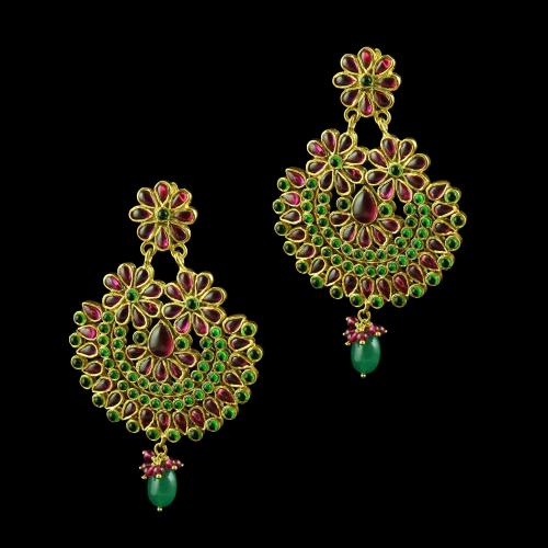 GOLD PLATED FLORAL EARRINGS WITH RED AND GREEN ONYX STONES