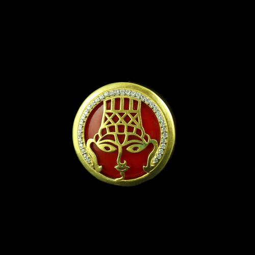 GOLD PLATED CUFFLINK WITH CORAL
