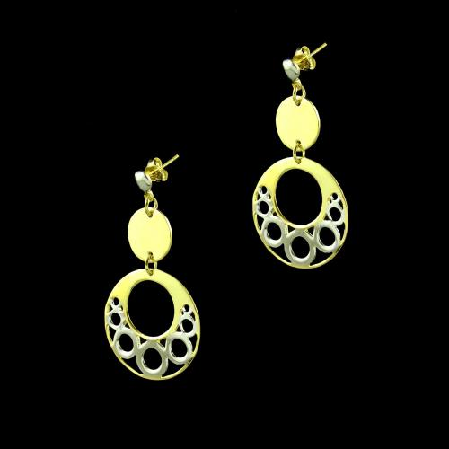 GOLD PLATED TWO TONE DROPS EARRINGS
