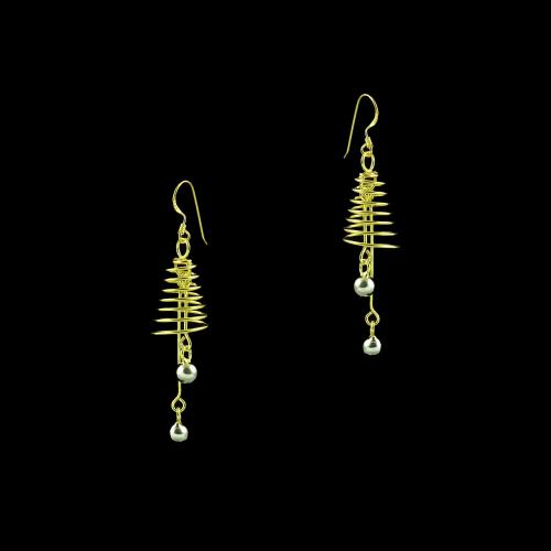 GOLD PLATED SPIRAL HANGING EARRINGS