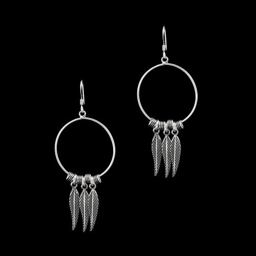 SILVER OXIDIZED HANGING EARRINGS