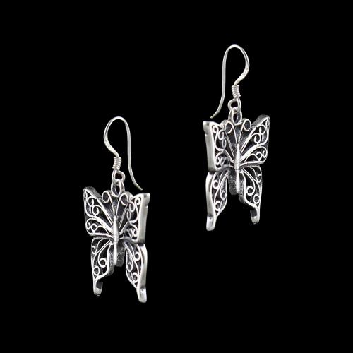 SILVER OXIDIZED BUTTERFLY HANGING EARRINGS