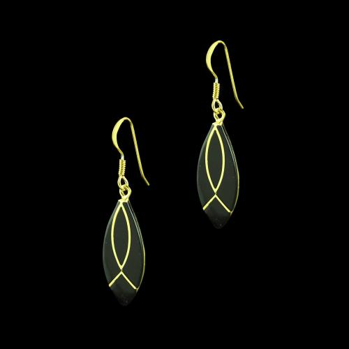 GOLD PLATED BLACK SPINEL HANGING EARRINGS