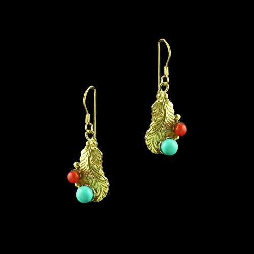 GOLD PLATED HANGING EARRINGS WITH CORAL AND TURQUOISE STONES