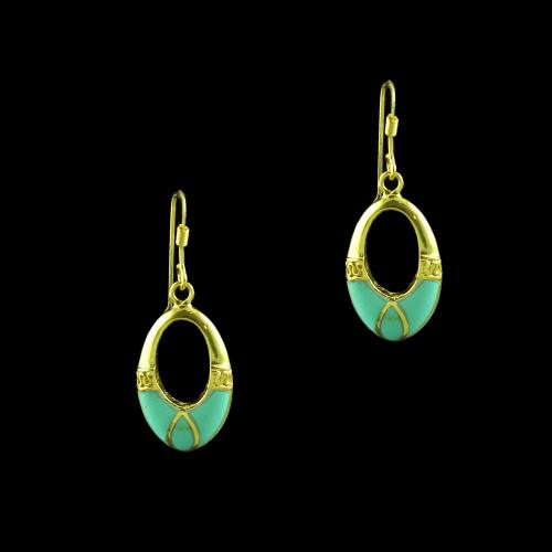 GOLD PLATED TWO TONE TURQUOISE HANGING EARRINGS