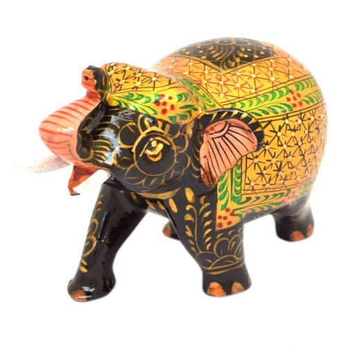 WOODEN ELEPHANT SUPER FINE PAINTED