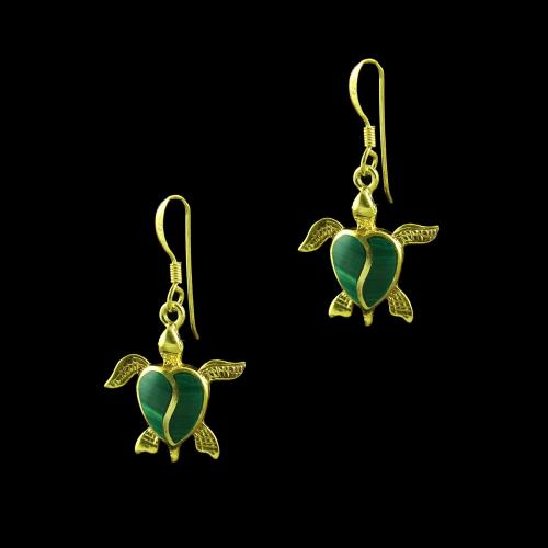 GOLD PLATED MALACHITE HANGING EARRINGS