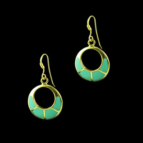 GOLD PLATED HANGING EARRINGS WITH TURQUOISE